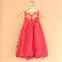 Wholesale 6pcs Lot Baby Girls Cute Red Dress Kids Sleeveless Dress Girls Suspender Lace Dress