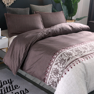 Image 2 - Brown Color Brief Floral Duvet Cover Set Bed Set Twin Double Queen size Bed linen Bedclothes bedding sets(No Sheet No Filling)