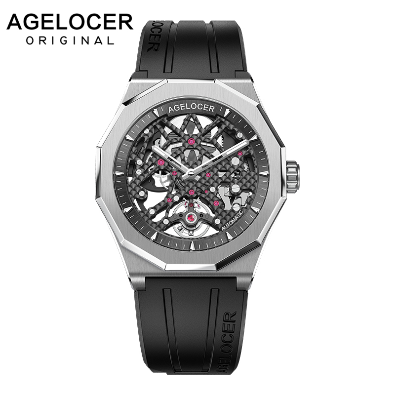 AGELOCER Swiss Luxury Watches Sport Men's Skeleton Mechanical Automatic Watch 80 Hours Power Reserve Wrist Watch Rubber Strap
