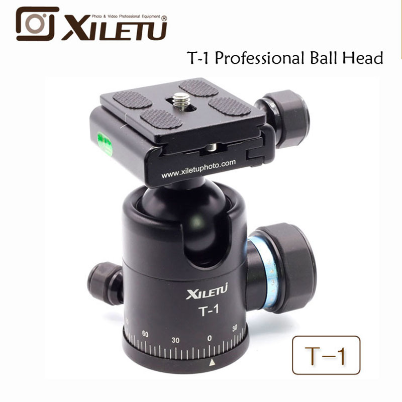 Xiletu T 1 Aluminum Tripod Monopod Ball Head with Quick Release Plate 1 4 Screw For