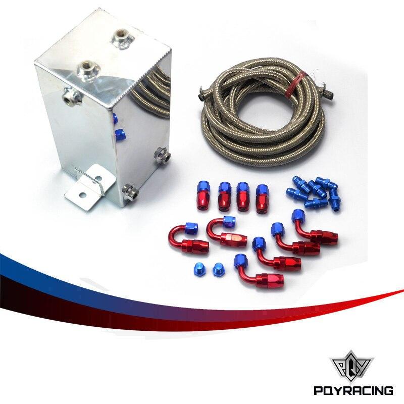 PQY- 4L Aluminium Surge tank kit mirror polish Fuel cell 4L Universal Complete Fuel Surge Tank 4 Litre Swirl Pot System kit fuel cell