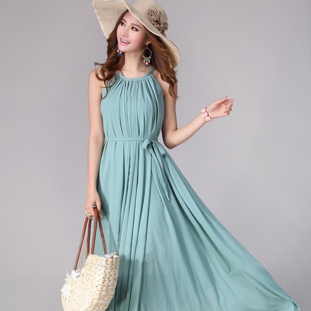 8f61582cb32 US $26.39 |2015 Plus Size Summer Evening Green Dresses For Women; Hawaiian  Maxi Chiffon Vestidos With 6 Colors-in Dresses from Women's Clothing on ...