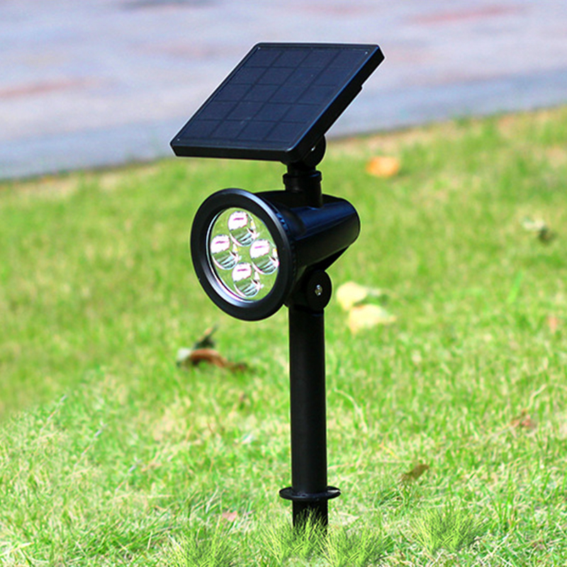 Outdoor Solar Lights In Ground: 4LED Solar Spotlight Adjustable Solar Powered Lamp In