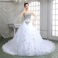 Forevergracedress Luxury White Wedding Dress Sweetheart Sleeveless Beaded Crystals Long Bridal Gown Plus Size Custom Made