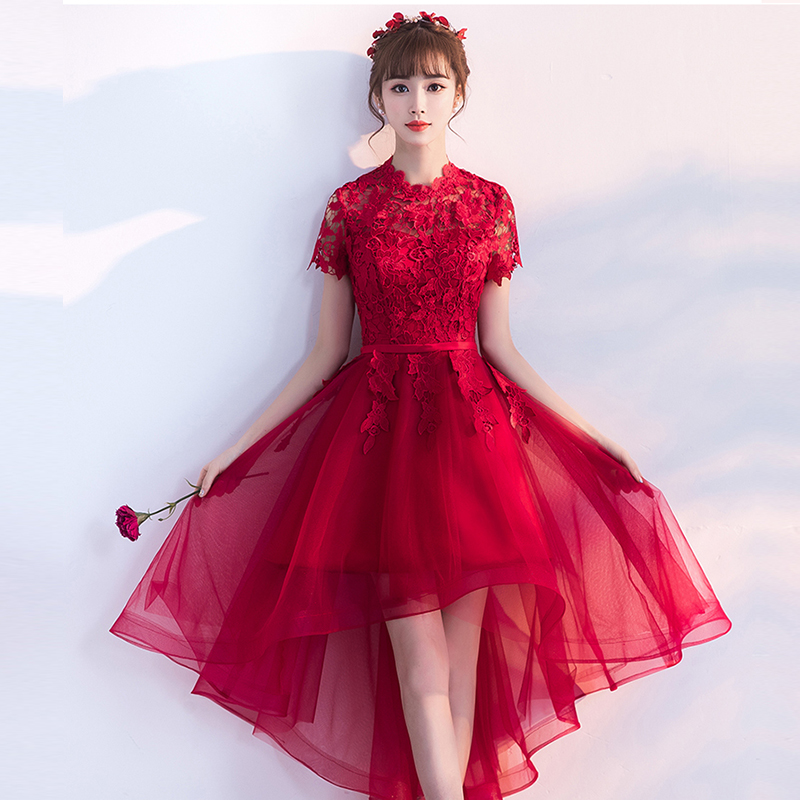Xcos Princess Short Front Back Long Tail Cocktail Dresses Elegant  Red Evening Party Gown Women