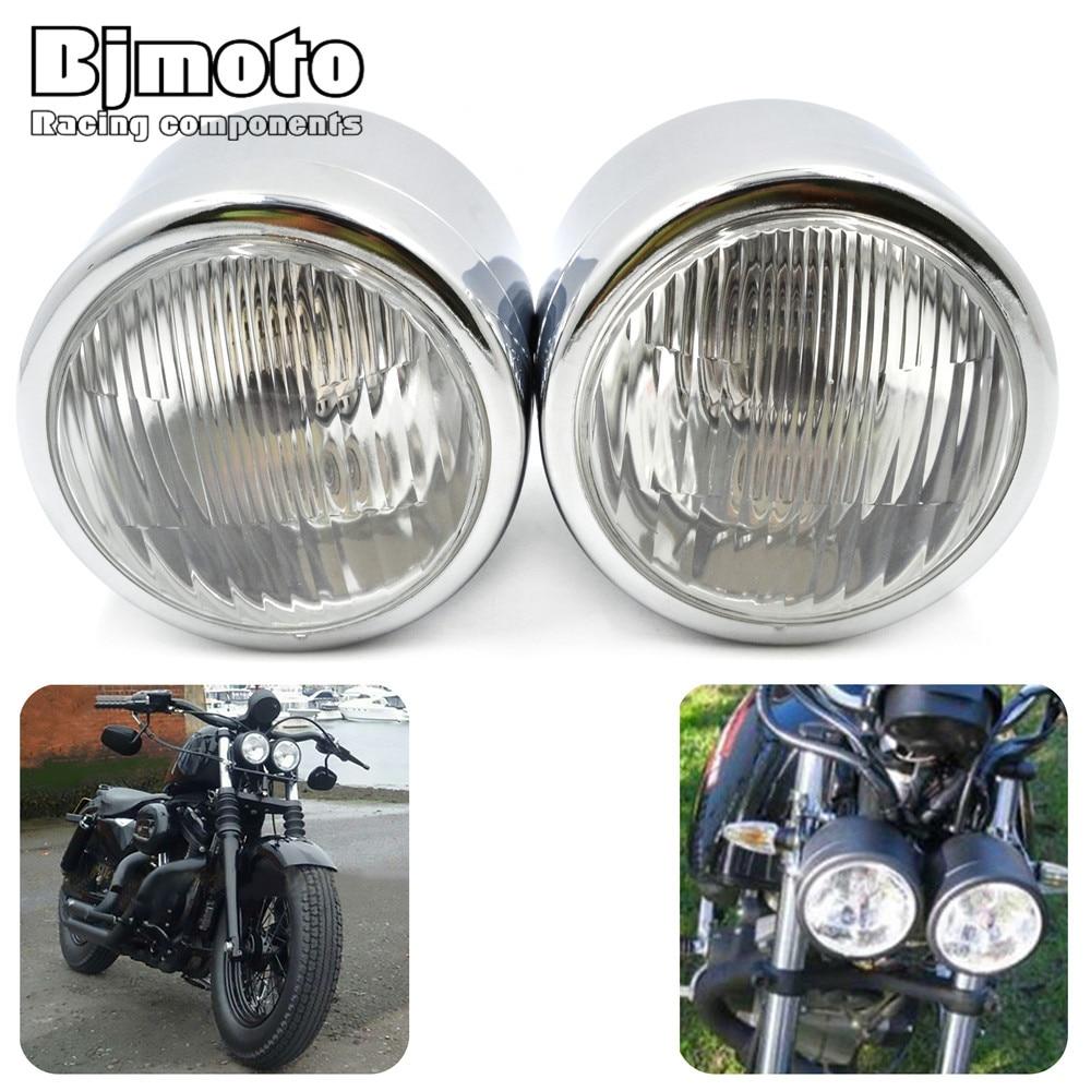 Bjmoto Motorcycle Double Dual headLamp Streetfighter Cafe Racer Naked Retro Moto Streetbike twin Headlight Double headLamp light ...