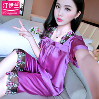 Panda Pijamas Mujer Limited Sale Cotton Polyester Solid Pyjamas New Fashion Autumn Two Short Sleeved Suit Sweet Thin Loose.