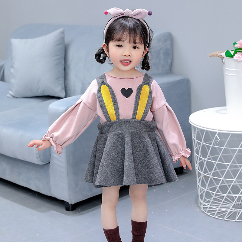0dddc75bcc autumn new fashion baby loving heart t shirt overalls 2PCS sets girls  loveliness suspender dress set child clothing children set-in Clothing Sets  from ...