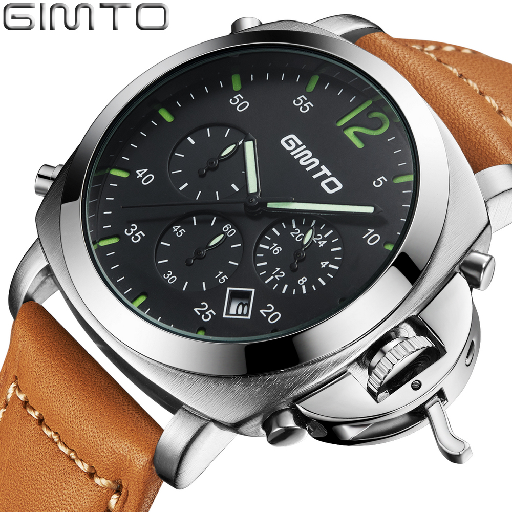 GIMTO Military Sport Watches For Men Chronograph Timer Date Day Leather Strap Quartz Luxury Watch Men Famous Brand Wristwatch duoya brand watches men luxury business sport calendar leather wristwatch casual quartz watches for men date military watch