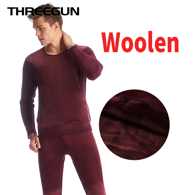 2d4a5c441217 THREEGUN Hot Sale Mens Thermal Underwear Set Thick Plus Long Johns Velvet  Winter Warm Wool Couple Thermo Underwear Stretch Cloth