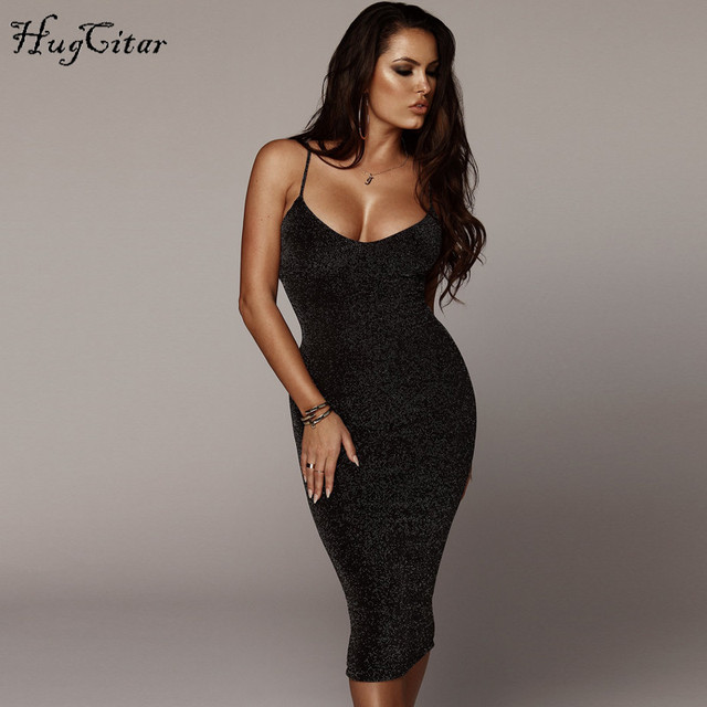 Hugcitar spaghetti straps slash neck backless sexy long dress 2018 women high waist bodycon elegant fashion party dresses 1