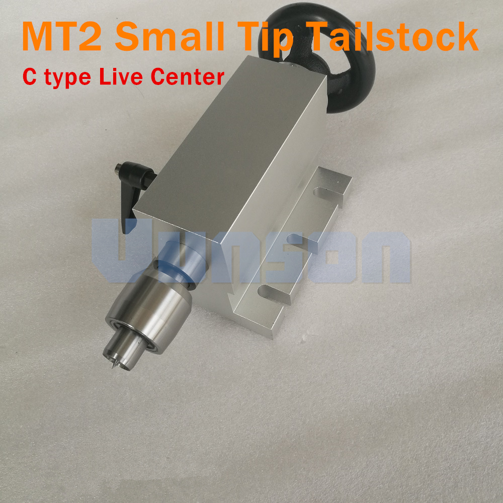 Morse2 MT2 Removable Replaceable Small Tip Live Center Tailstock Center Height 65mm with Locked Wrench for