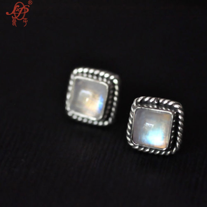 цена на 2018 Special Offer Limited Women Bali, India And Nepal Moonstone Handmade 925 Sterling Earrings For Womem Inlaid Natural Stud