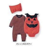 2017 New Baby Girls Boys Striped Rompers Halloween Pumpkin Night Moon Bats Overalls Hat 3pcs Spring