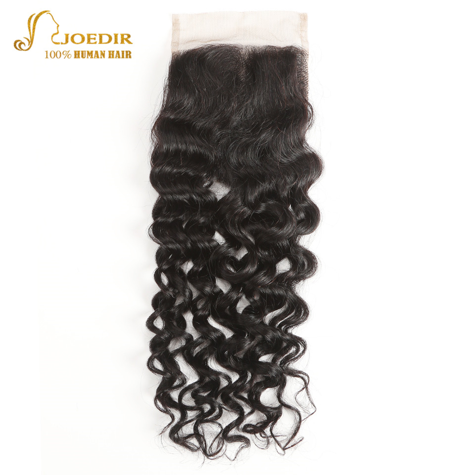 Joedir Pre Colored Brazilian Water Wave Hair Lace Closure 4*4 Human Hair Lace Closure With Baby Hair Free Shipping Remy 10-20