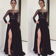 2016 Long Black Abendkleid Sexy Langarm Spitzen Chiffon vorder Split Bodenlangen Abendkleid W2500 Benutzerdefinierte Robe de Soiree