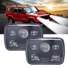 1PCS Or 2PCS For Jeep H4 80W LED Headlight 5x7