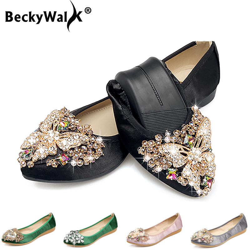 4 Colors Ladies Flats Shoes Women Spring Summer Foldable Ballet Flats Pointed Toe Rhinestone Slip On Loafers Casual Shoes Woman4 Colors Ladies Flats Shoes Women Spring Summer Foldable Ballet Flats Pointed Toe Rhinestone Slip On Loafers Casual Shoes Woman