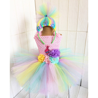 Princess Cartoon Comic Poppy Troll Tutu Dress for Baby Kids First Birthday Party Knee Length Dress Vestido Baby Girl Clothes Set