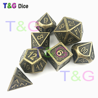 New Style DICE Metal With Iron Box d20 Heavy RPG D&D