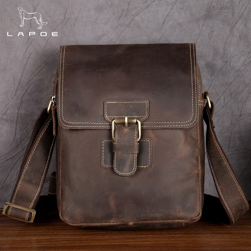 LAPOE Men's Leather bag Genuine Leather men Bag male Shoulder Crossbody Bags Casual Handbags Small Flap Men Messenger Bags tianhoo genuine leather men bags flap messenger bag men s small briefcase man casual crossbody bags shoulder handbags