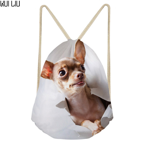 Customized Kawaii Animal Dog Chihuahua Small Women Drawstring Bag String Backpack For School Girl Casual Pouch Pocket Bags Bag