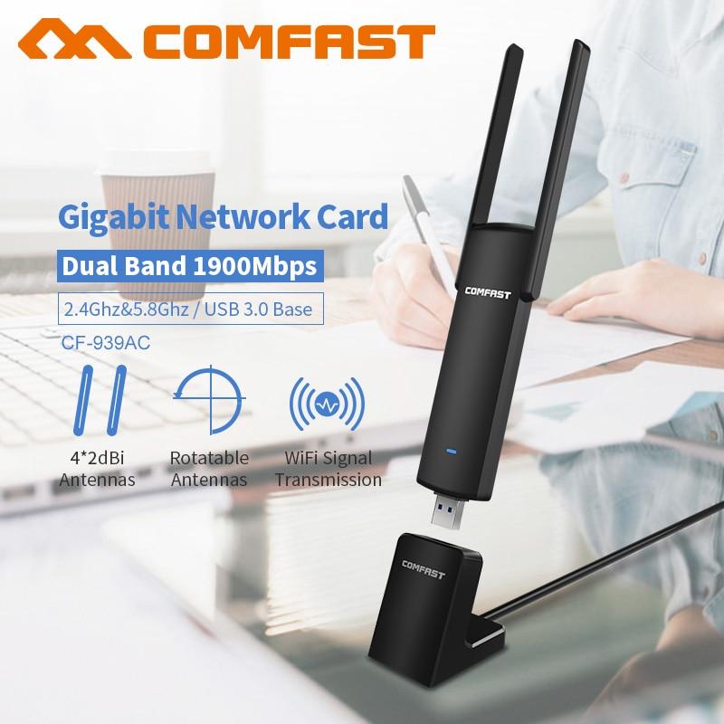1900 Mbps Gigabit USB AC Adaptateur WiFi 2.4 GHz 5 GHz Dual Band 802.11ac PC Sans Fil Ordinateur Carte Réseau Récepteur avec USB3.0 base