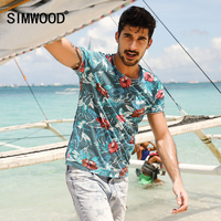 SIMWOOD 2017 Spring Summer Hawaiian T Shirts Men 100 Pure Cotton Brand Clothing Print Tees Plus