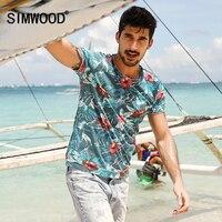 SIMWOOD 2017 Spring Summer Hawaiian T Shirts Men 100 Pure Cotton Brand Clothing Print Tees Plus