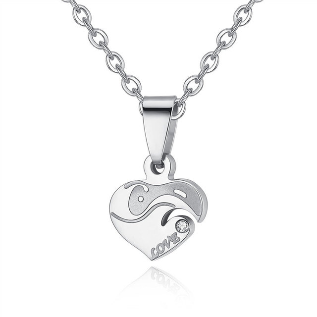 Hot sell personalized Stainless Steel Heart Shape Puzzle  Couple Pendant Engagement Necklace for valentines romantic gift 4