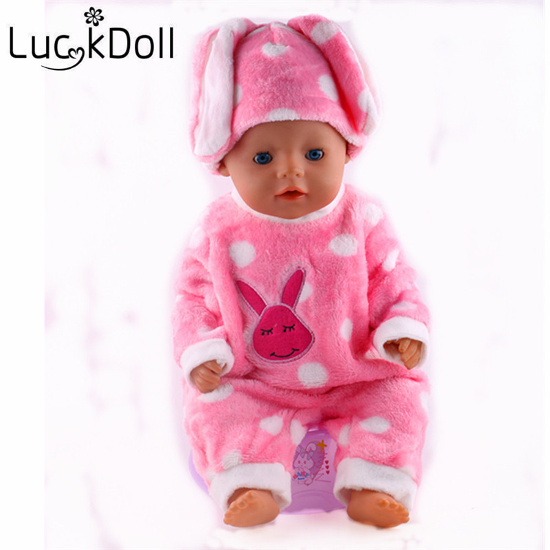 Luckdoll Cute Rabbit Velvet Pajamas Suit fit for 43 cm Baby Born Doll or 18 inch American Girl Doll Accessories
