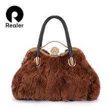 REALER women handbags real rabbit fur bag female luxury top-handle bag