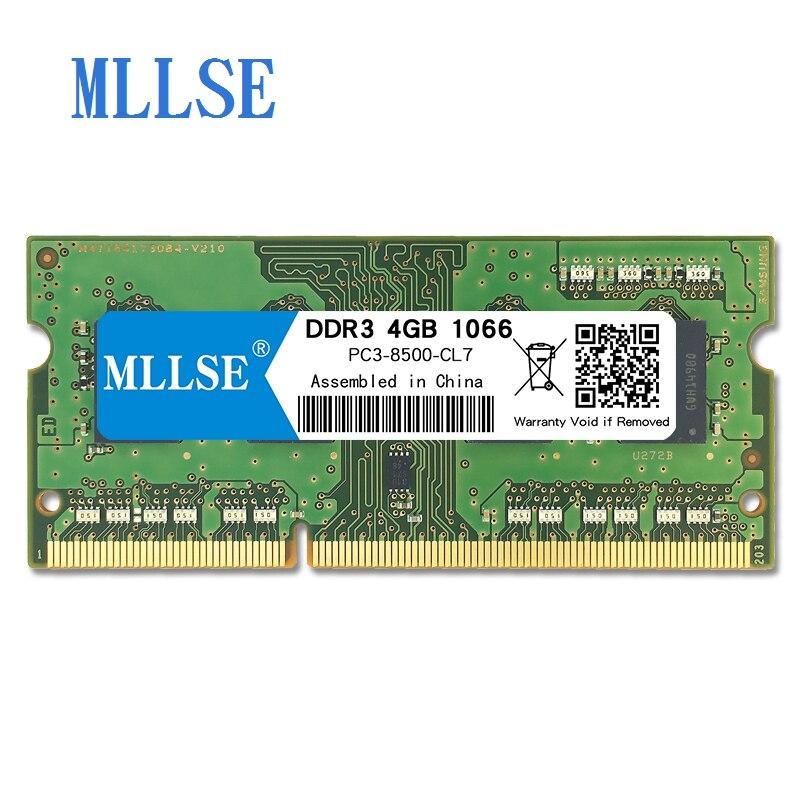 Mllse Laptop Sodimm Ram DDR3 4 GB 1066 V 1.5 mhz 204pin PC3-8500S não-ECC de memória Para notebook Notebook RAM memoria