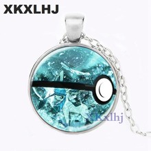 XKXLHJ nouveau dragon air Pokeball collier Sylveon Pokeball pendentif feuilles bijoux Pokemon rond verre collier(China)