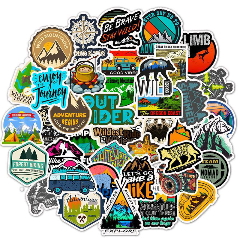 50PCS Camping Travel Stickers Wilderness Adventure Outdoor Landscape Waterproof Decal Sticker To DIY Laptop Suitcase Motor F5