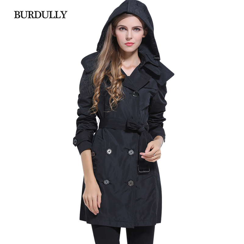 BURDULLY Fashion Female Autumn Casual Long Trench Coat Hooded Outerwear Winter High Quality Large Size Trench Women 2018 New new men s military style casual fashion canvas outdoor camping travel hooded trench coat outerwear mens army parka long jackets