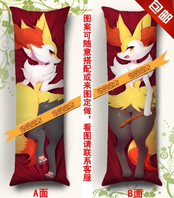 Taie d'oreiller Bady étreinte Anime-150*50 cm poche peau de pêche monstres Braixen braise