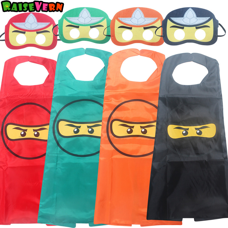 2018 Halloween Children Baby Boy Ninja Ninjago Cape And Mask Set Superhero Costumes For Kids Superman Birthday Party Supplies ninja ninjago superhero spiderman batman capes mask character for kids birthday party clothing halloween cosplay costumes 2 10y