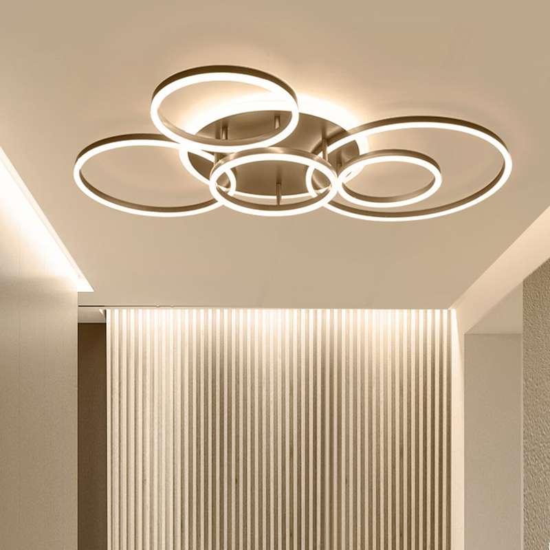 Lights & Lighting Ceiling Lights Dynamic Remote Controller 2/3/5/6 Circle Rings Modern Led Chandelier For Living Room Bedroom Study Room White/brown Color Chandelier High Quality Goods