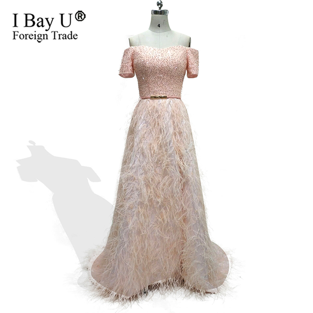 aa1457f72 Real Photos Ostrich Feather Handy Beads Crystal Evening Dresses 2019  Celebrity Dresses Long Luxury Formal Evening Gowns Dresses