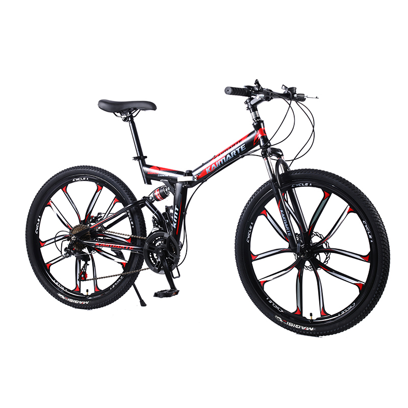 21-speed Folding Mountain Bike 24 And 26 Inch Bicycle Double Disc Brakes Cycling Bicycle Folding Mountain Bike