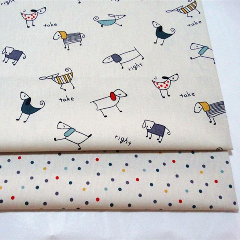 100% Baumwoll-twill Tuch Beige Cartoon Pet Dog Druckgewebe Für Diy Krippe Bettwäsche Kissen Quilten Handarbeit Decor