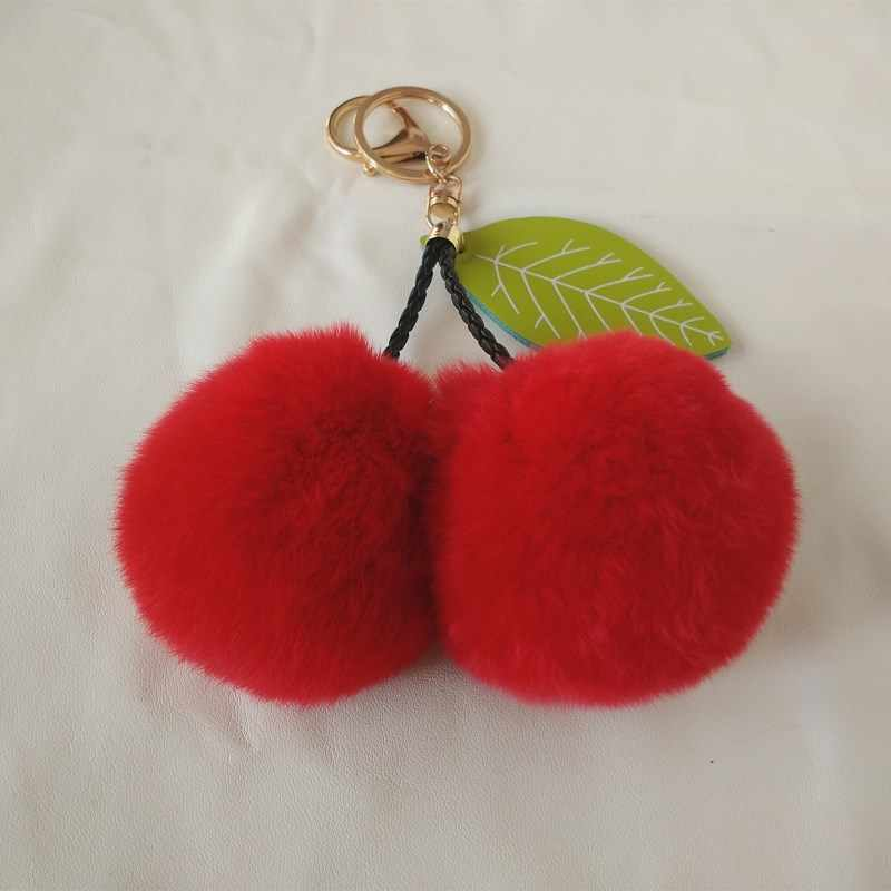 1 pc Rabbit Leather Keychain Pom Pom Cherryball Handbag Keychain Fashion Charm Women's Accessories Hand Pendant