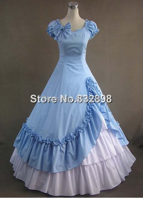 Sky Blue and White Victorian Style Dress Long Lolita Party Dress