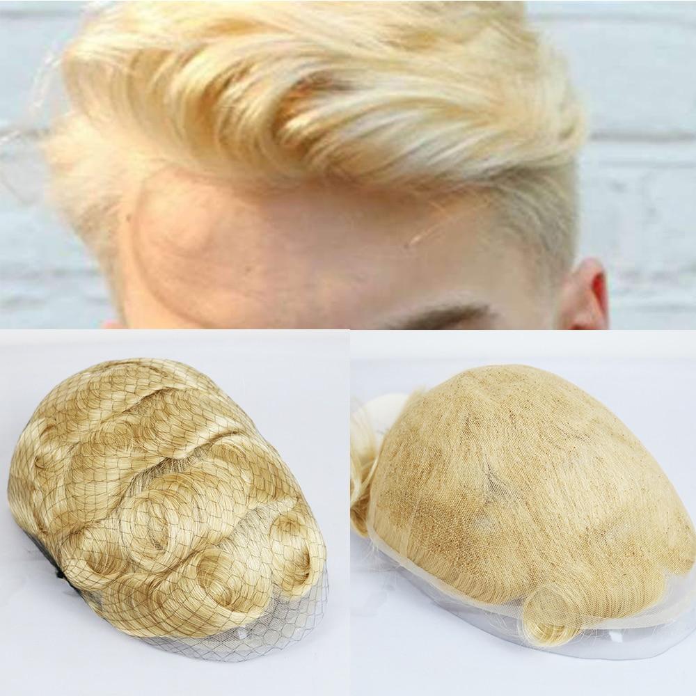 SimBeauty #613 Blonde Full Lace Men Toupee Swiss Lace Men Toupee 8x10 Inch French Lace Men's Wig Wig For Men Durable System