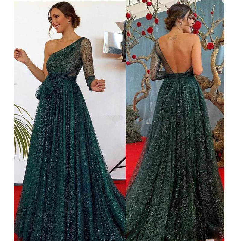 Hunter Green Sequined Tulle One Shoulder Formal Dress Prom Gowns Long Sleeves Sexy Backless Evening Party Dresses Robe de soiree - 2