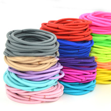 50Pcs/Lot Thin Elastic Hairbands for Girls Fashion Women Scrunchie Gum Hair Accessories Candy Color  Bands