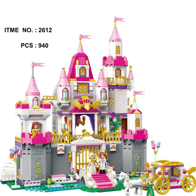 цена Upgraded Fairy Tale Princess Angel Castle Celebration Building Block Horse Prince Figures Carriage Bricks Toys for Girls Gifts