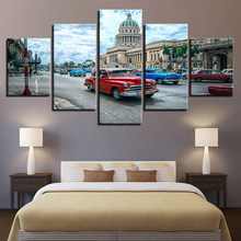 Wall Art Havana Cuba Car City Paintings Canvas Pictures Home Decor Framework 5 Pieces HD Prints Landscape Posters Drop Shipping(China)
