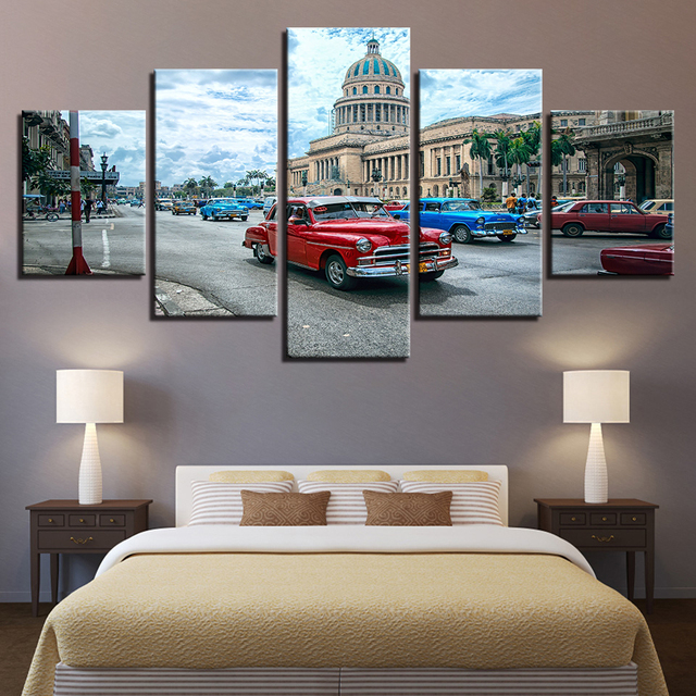 Wall Art Havana Cuba Car City Paintings Canvas Pictures Home Decor Framework 5 Pieces HD Prints Landscape Posters Drop Shipping